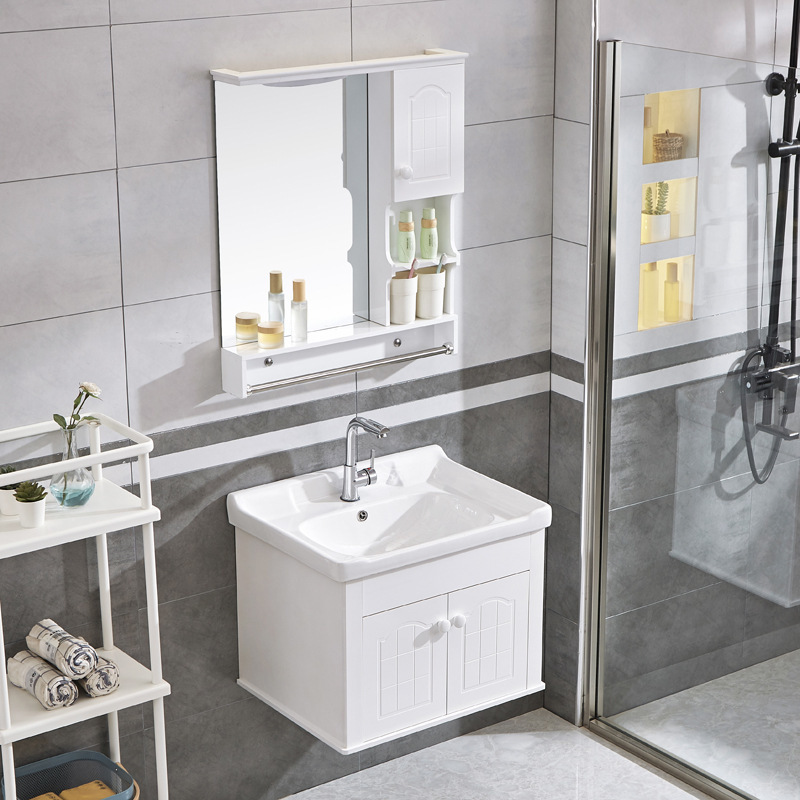 Small toilet lavatory combination PVC bathroom vanity modern contracted Europe type ark wall cupboard