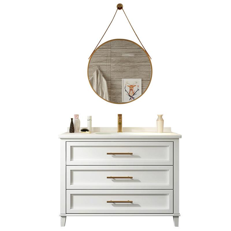 Light luxury oak bathroom cabinet combination modern minimalist washbasin cabinet American bathroom vanity solid wood sink