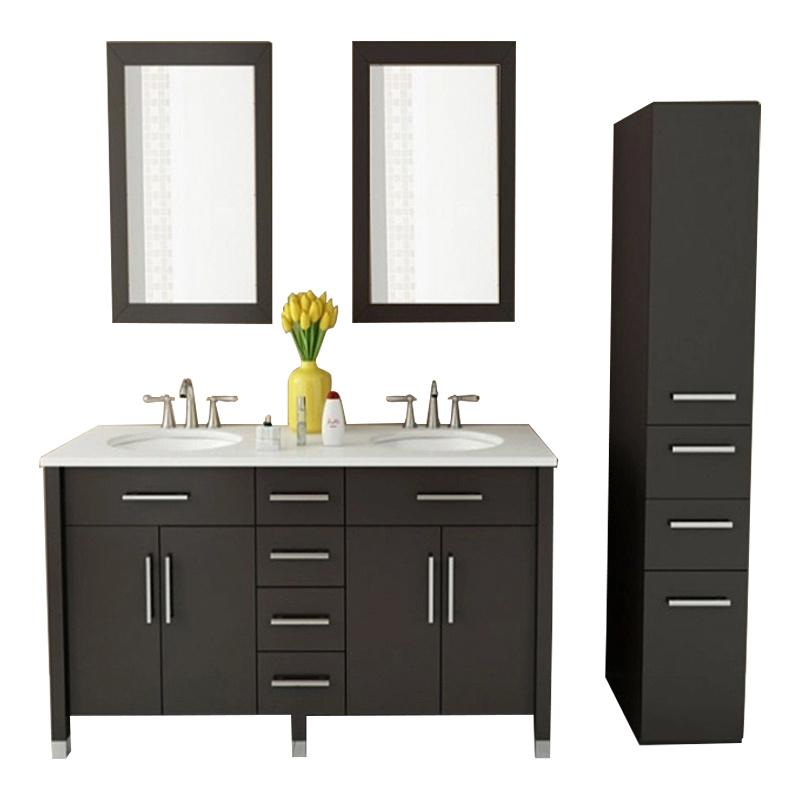 High Quality Pvc Door Board Decorative Double Sink Bathroom Wall Cabinets Modern Design