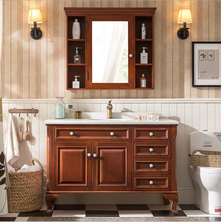 American floor solid wood bathroom cabinet combinationwash basin cabinet