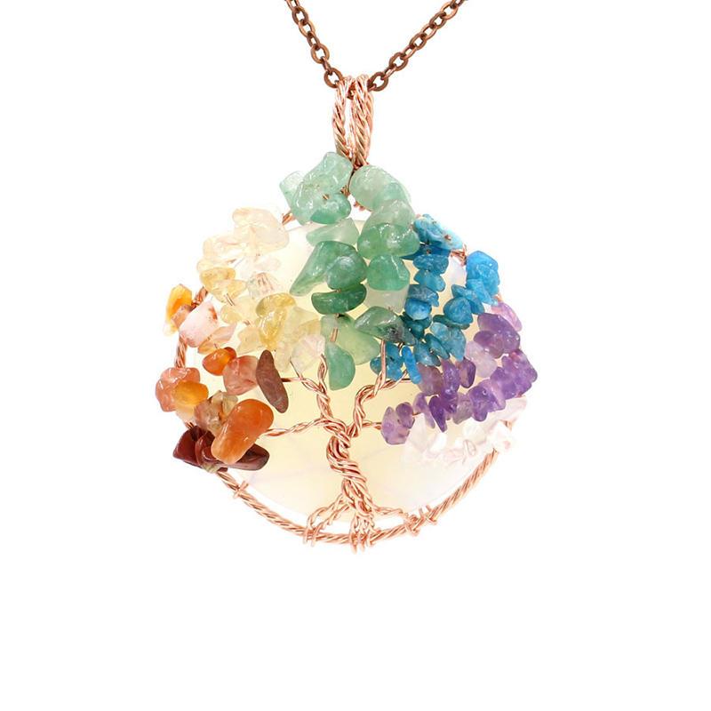 Beautiful 7 Colour Chakra Crystal Powder Tree Of Life Pendants