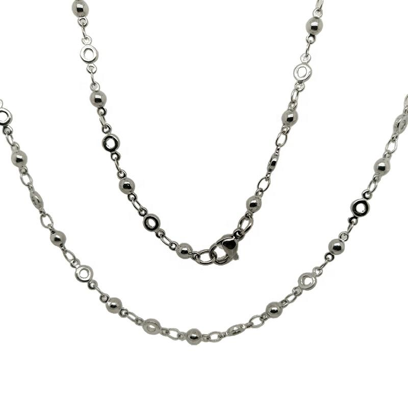 Circle Chain Beads Rosary Design Stainless Steel Jewelry Necklace