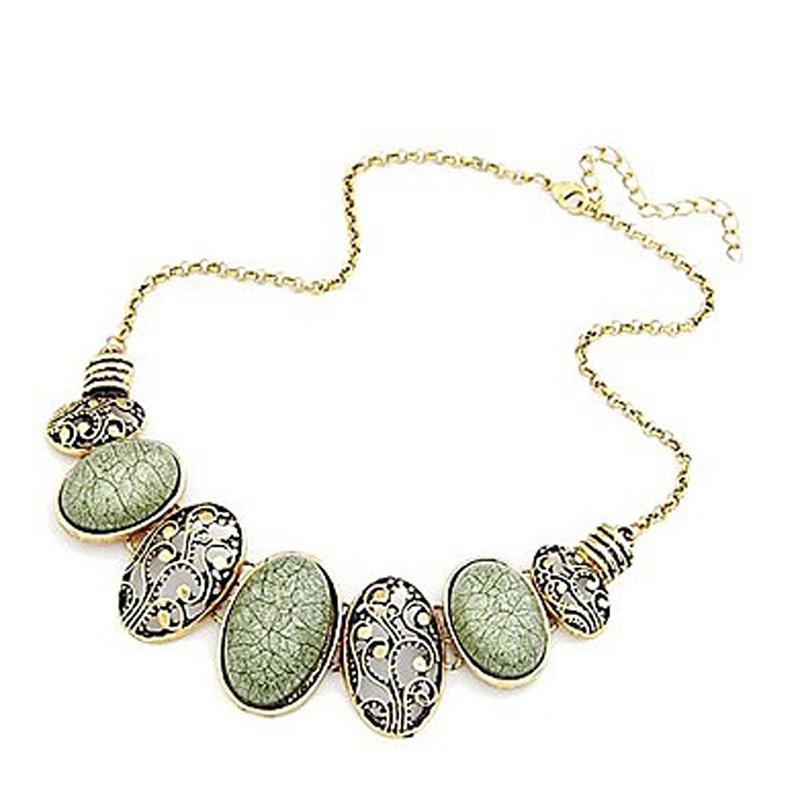 Vintage Bohemian Accessories Oval Resin Bead Chain Necklace, Clavicular Chain Necklace For Women