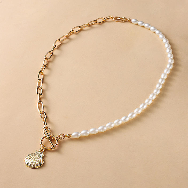 14K Gold Chain Shell Pendant On Necklace With Imitation Pearl Chain And Buckle