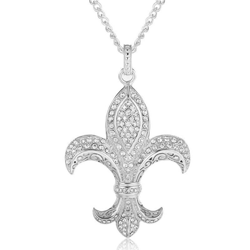Fashion Flower-De-Luce Full Zircon Stainless Steel Necklace
