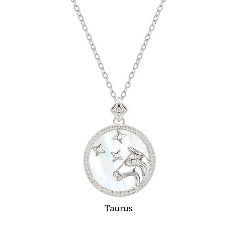 Taurus Birthday Gifts Silver 925 Zodiac Pendant Necklace For Women