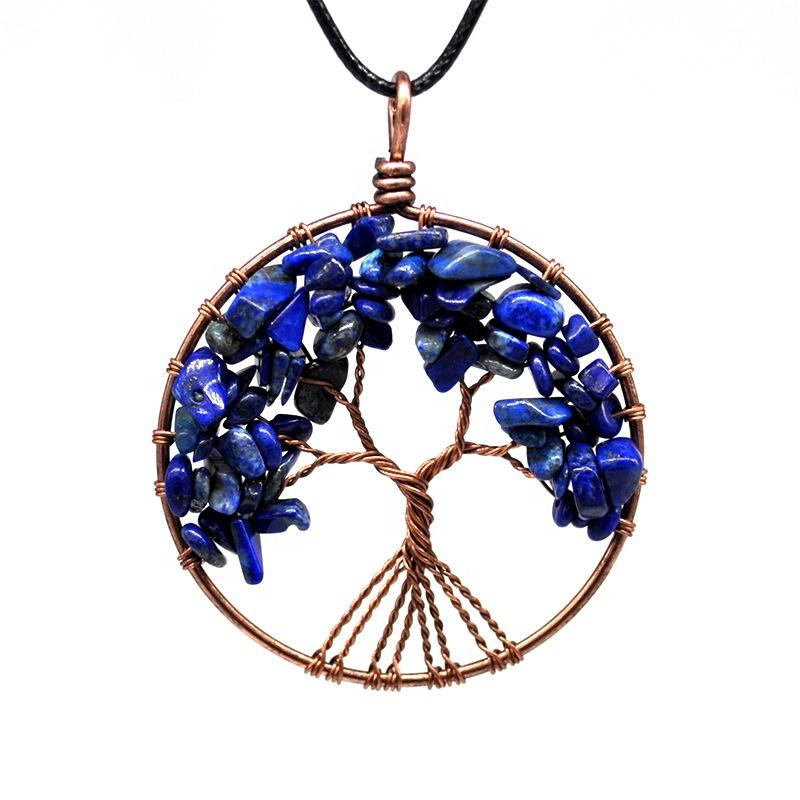 Blue-Vein Stone Necklace, Handmade Family Birthstone Tree Necklace