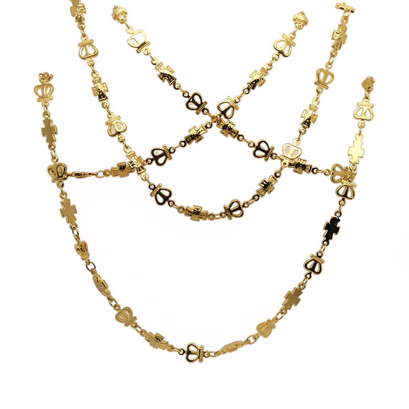 Gold Plated Stainless Steel Tiny Cross Chain, Womens Chain Choker Tiny Cross Chain Necklace