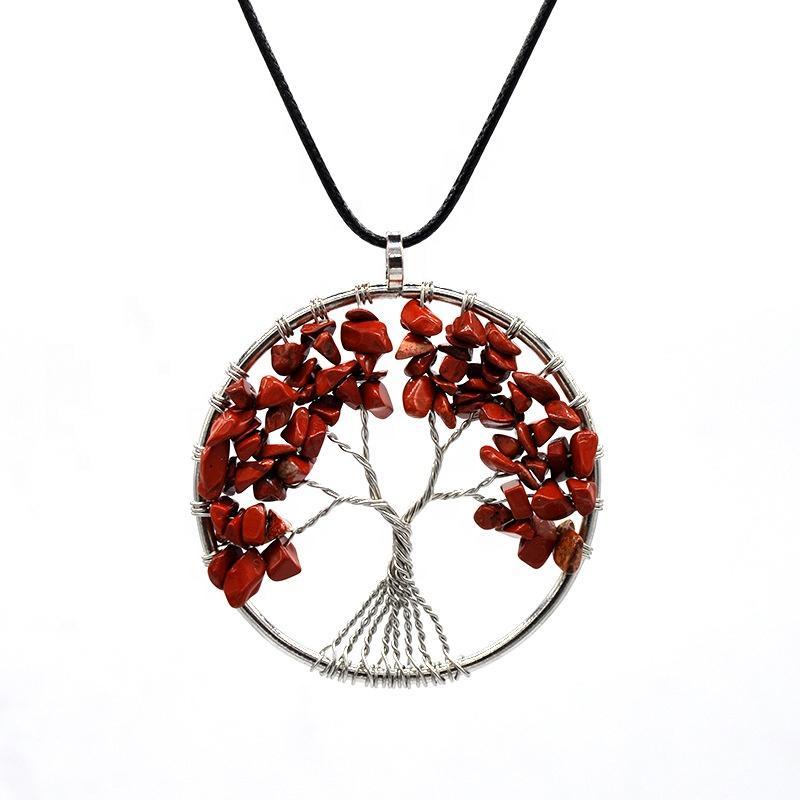 Tree of Life Necklace, Handmade Intertwine Redstone Tree Necklace