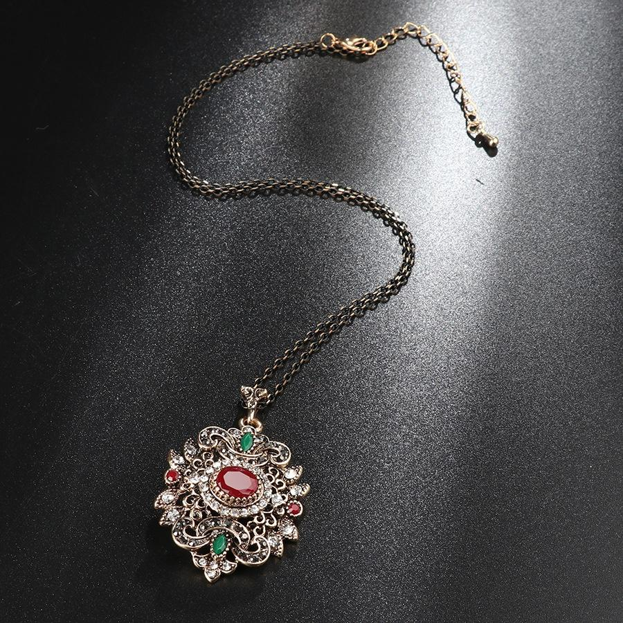 Antique Gold And Colored Gem Pendant Necklace, Vintage Ethnic Style Long Necklace