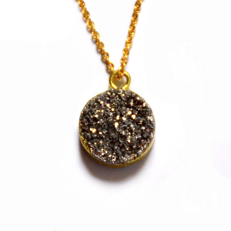 Bohemian Heteromorphic Natural Stone Covered Gold Sweater Chain Necklace