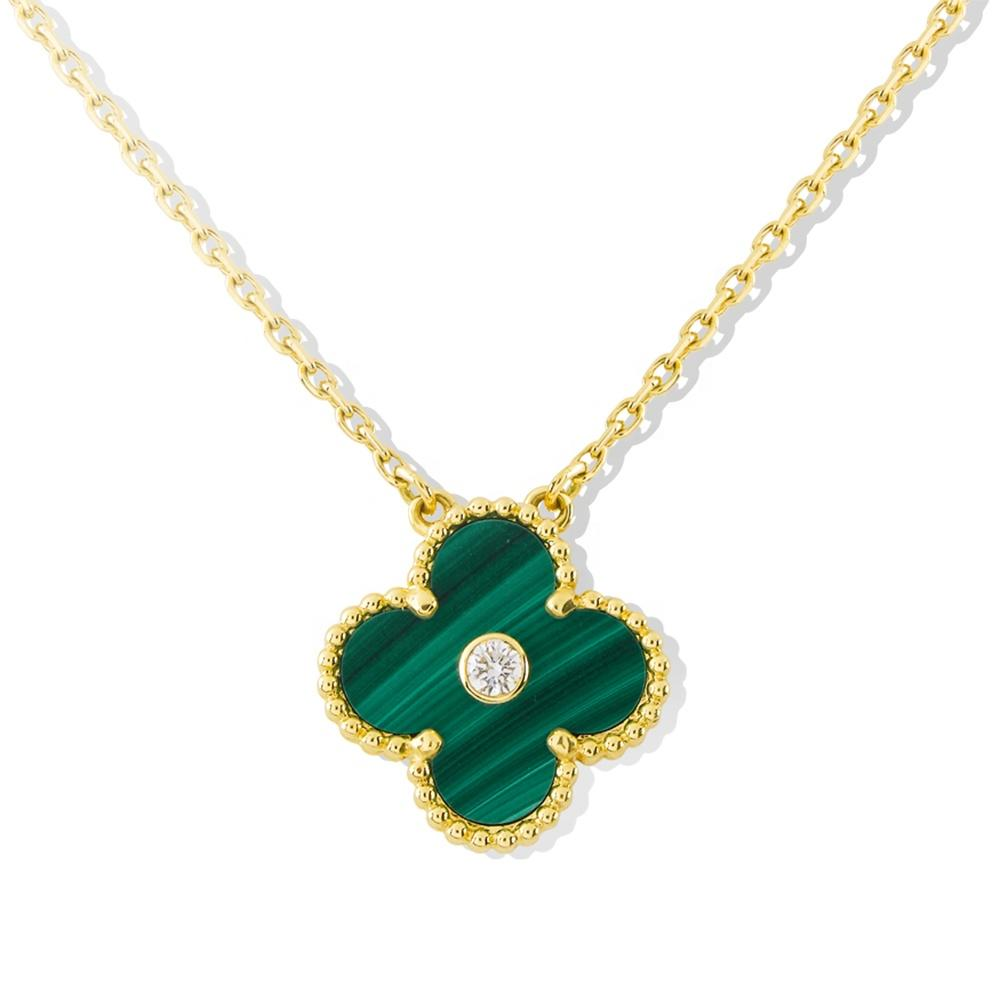 Fashion Girls Peacock Green Clover Gold Necklace 24K, S925 Sterling Silver Christmas Clover Necklace