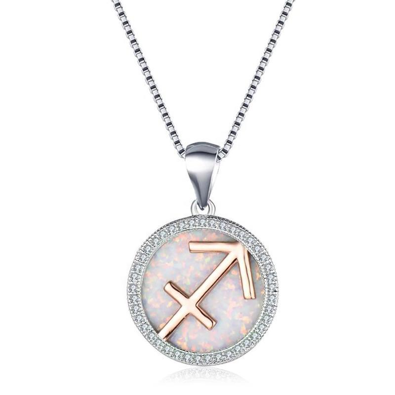Micro Pave Cubic Zirconia Opal Silver Sagittarius Zodiac Sign Pendant