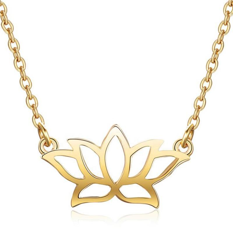 Wholesale Lotus Flower Plain Silver 925 Gold Pendant Necklace