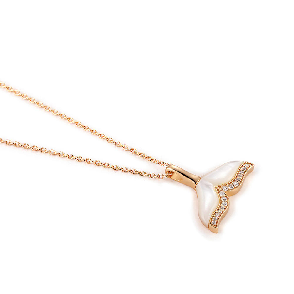 Custom Charm S925 Silver Mermaid Tail Necklace, White Shell Plating 18K Gold Jewelry