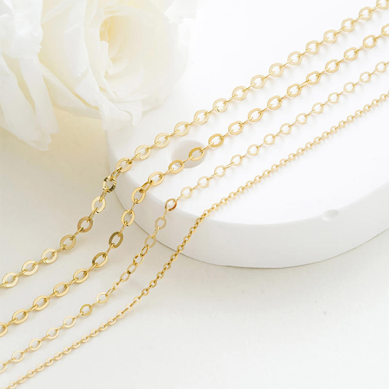 14K Gold Chain Corrugated Oval Chain, Sweater Chain O-Necklace 40cm