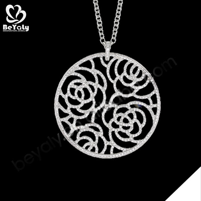 Round flower engraved meaning eternal love couples pendants necklace