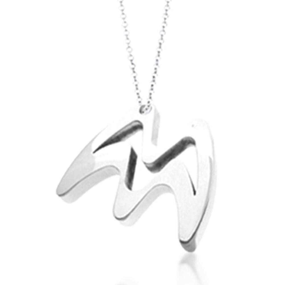 Rectangular Shape Greek Letter Design Titanium Hiphop Costume Jewelry