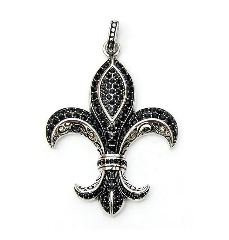 Black Zircon Fleur-De-Lis Flower Design Stainless Steel Pendant