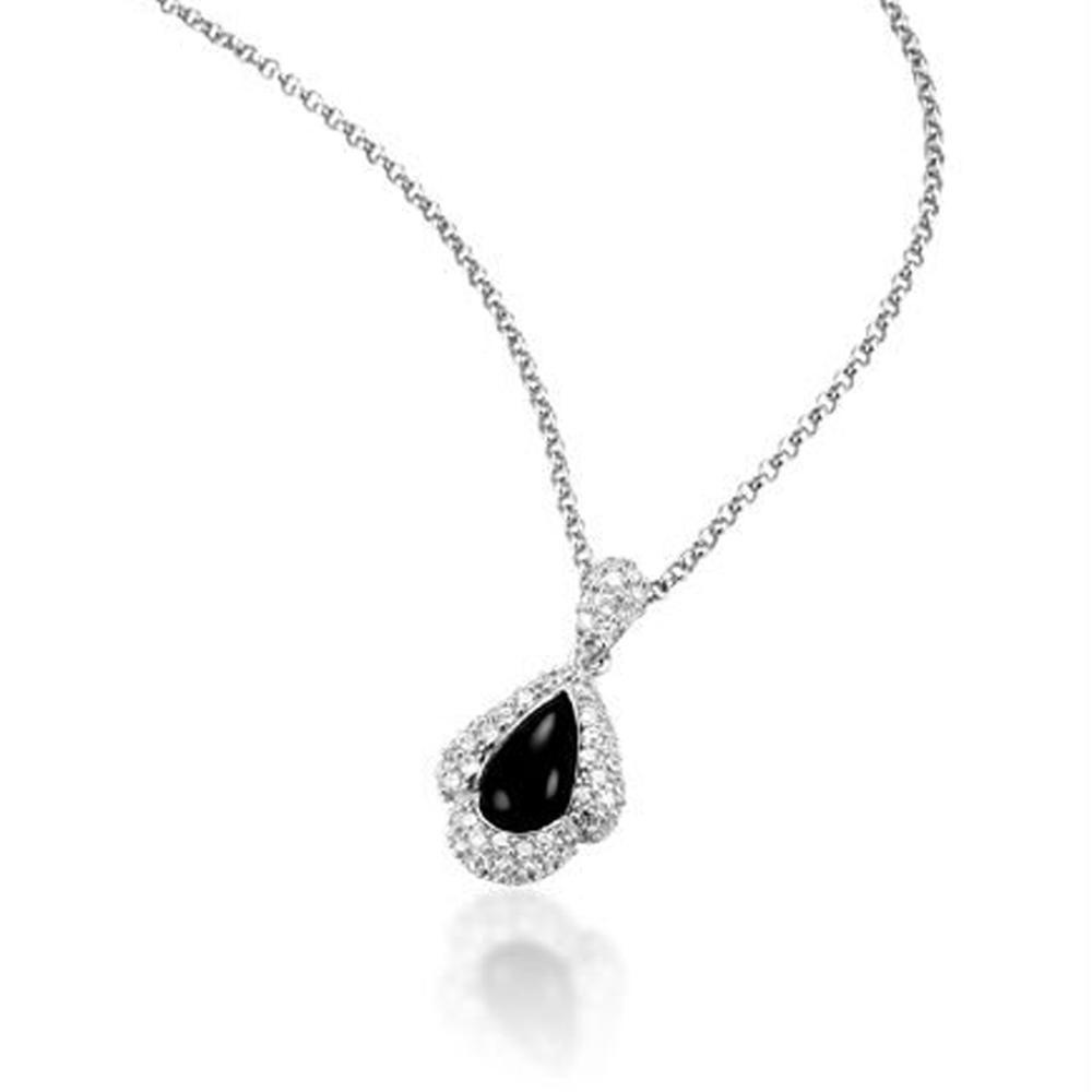 Decent tooth shape design wholesale black obsidian pendant