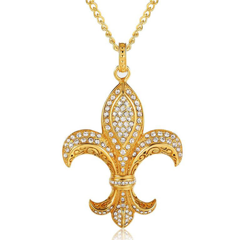 Gold Plated Stainless Steel Women Cubic Zirconia Iris Necklace