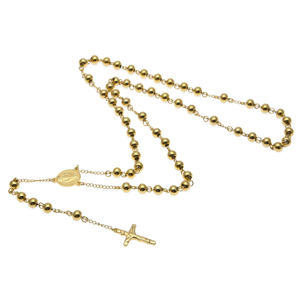 Yellow Gold Rosary Stainless Steel Cross Accessories Jewellery