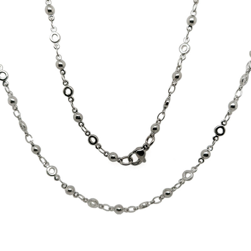 Stainless Steel Colored Round Ball Beads Link Circles Chain Necklace