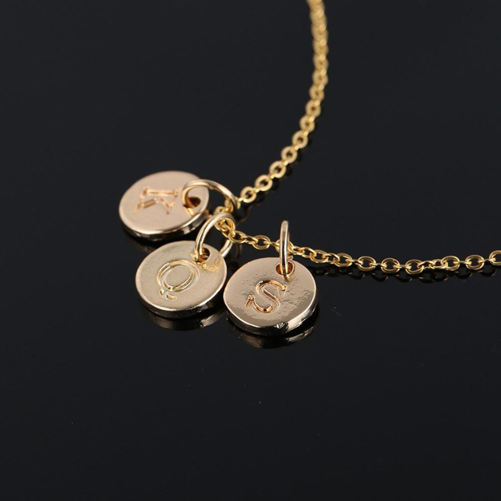 Round Shape Alphabet Rose Gold Scrabble Tile Pendant