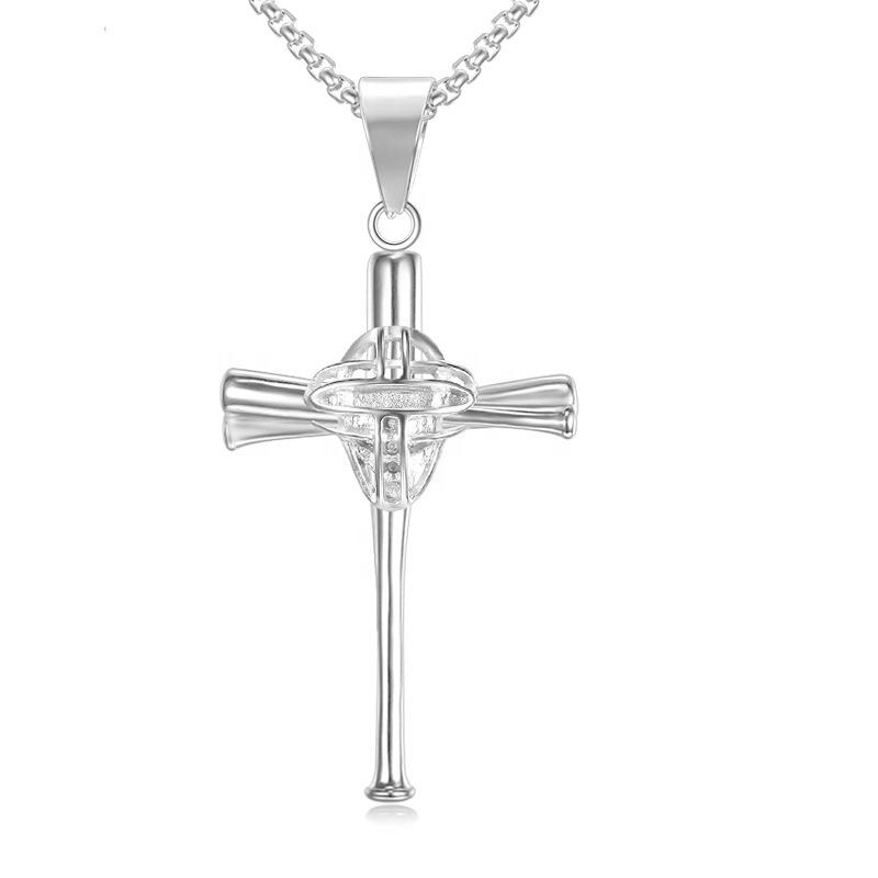Stainless Steel Sports Series Face Guard Baseball Cross Necklace