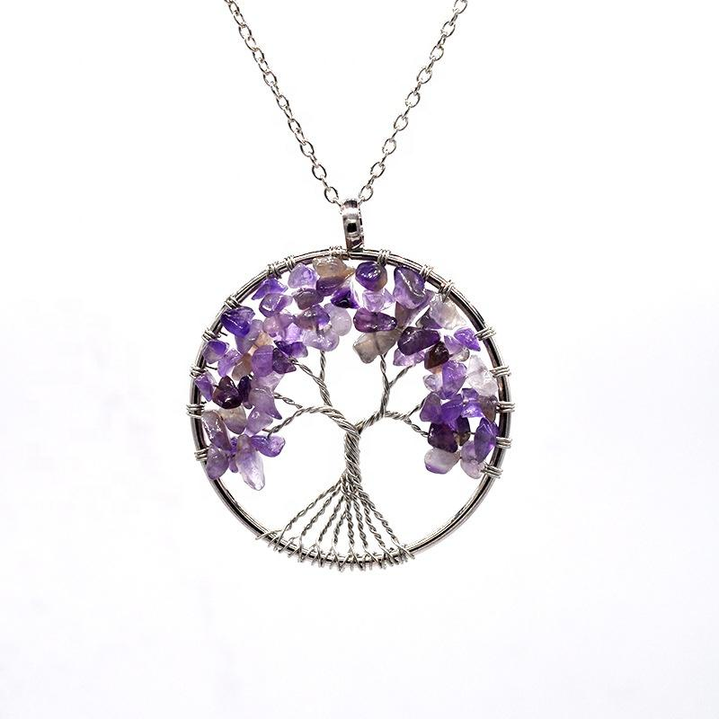 Amethyst Tree Of Life Necklace, Intertwine Handmade Stone Necklaces