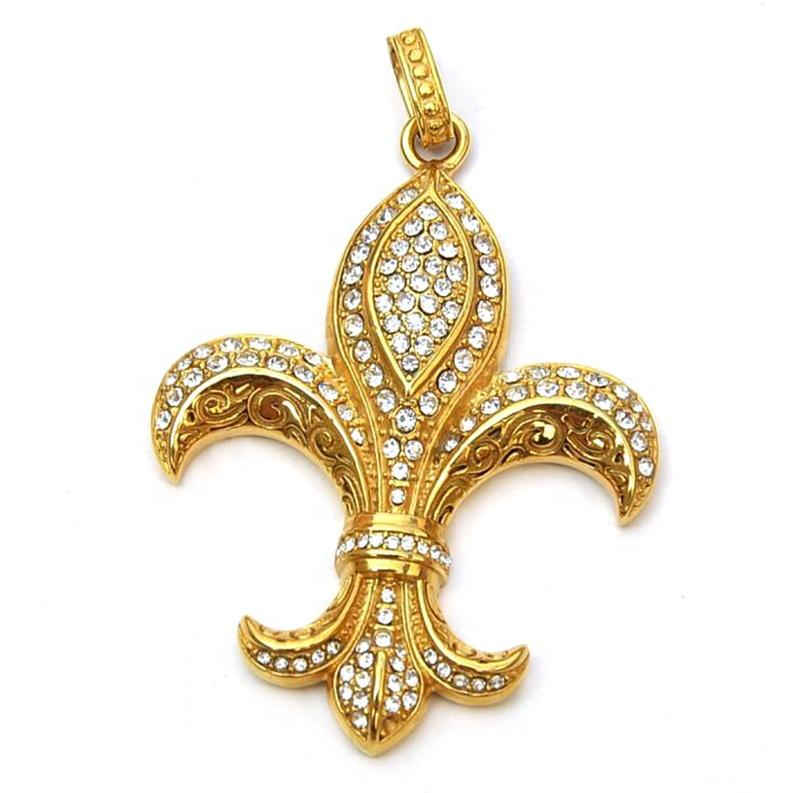 Vintage Style Gold Plated Stainless Steel Flower-De-Luce Necklace Pendant