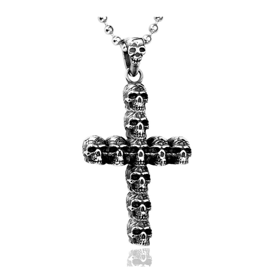 Cross with delicate engraved skull bead necklace single strand