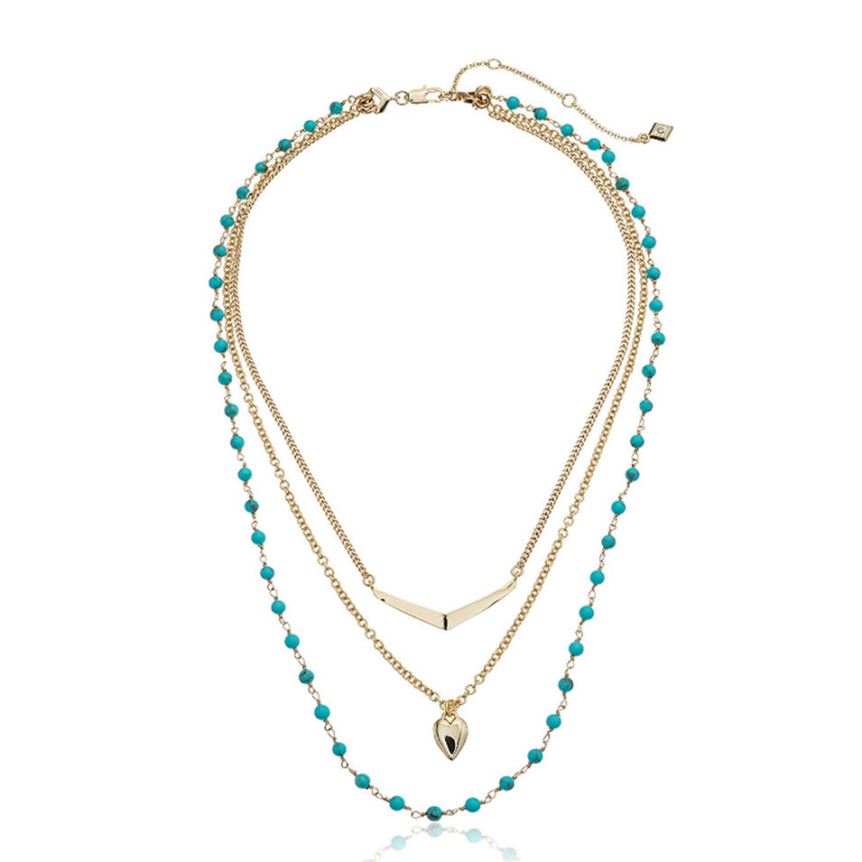Gold plated shiny fashion three layer bead necklace