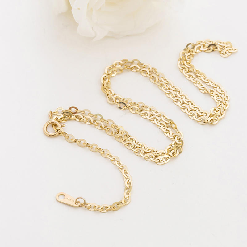 14K Gold Chain Corrugated Oval Chain, 14K Gold Chain O-Necklace 45cm
