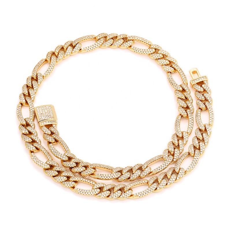 14K Gold Chain 10mm Full Pave NK3:1 Figaro Cuban Chain Hip Hop Popular Logo Necklace