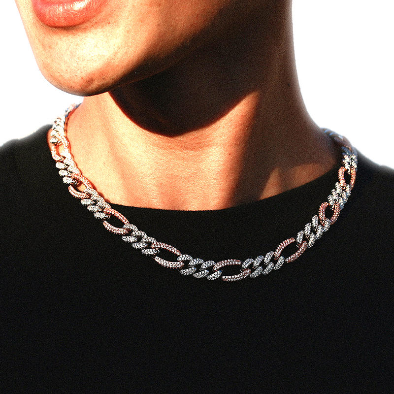 10mm Full Pave NK3:1 Figaro Cuban Chain Hip Hop Popular Logo Necklace