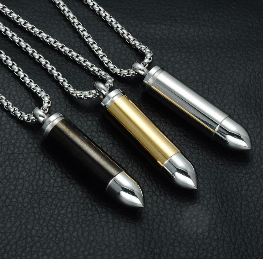 Fashion Style Shiny Stainless Steel Men Bullet Pendant