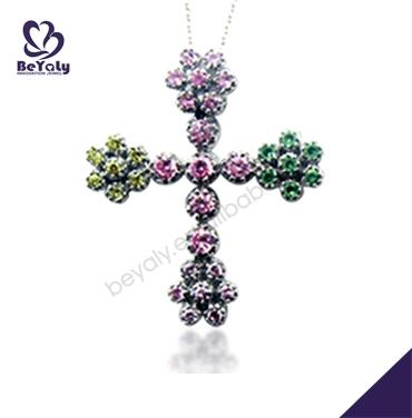 Anime colorful cross bridal jewelry sets cubic zirconia
