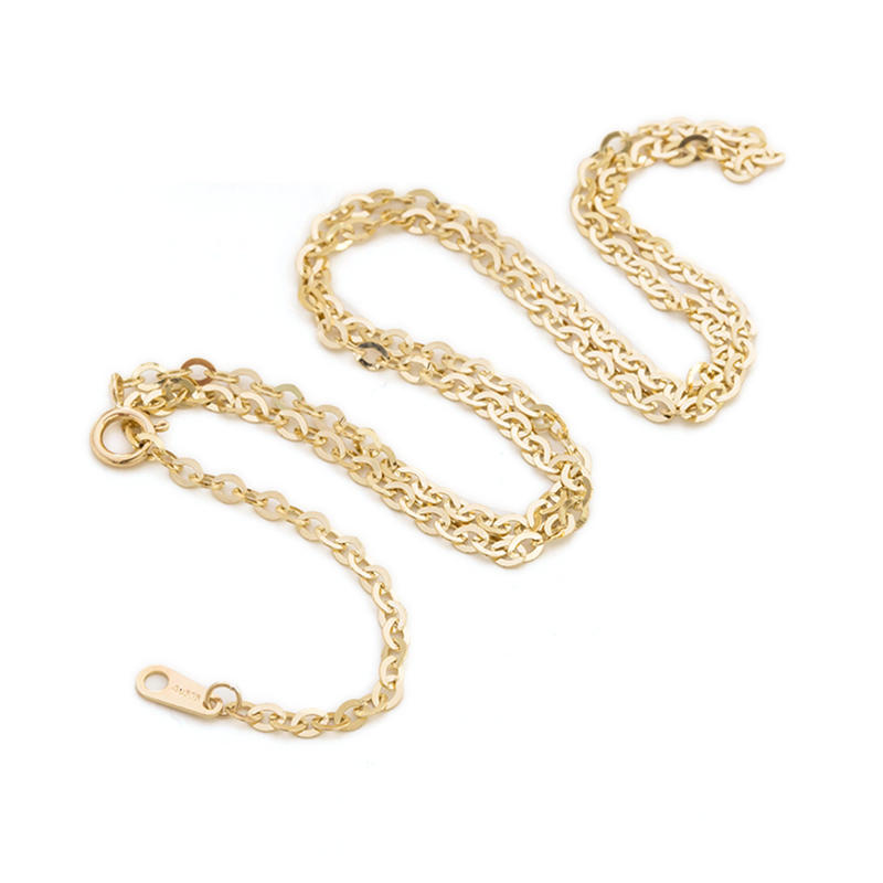 14K Gold Chain Corrugated Oval Chain, O-Necklace, Custom Length Sweater Chain
