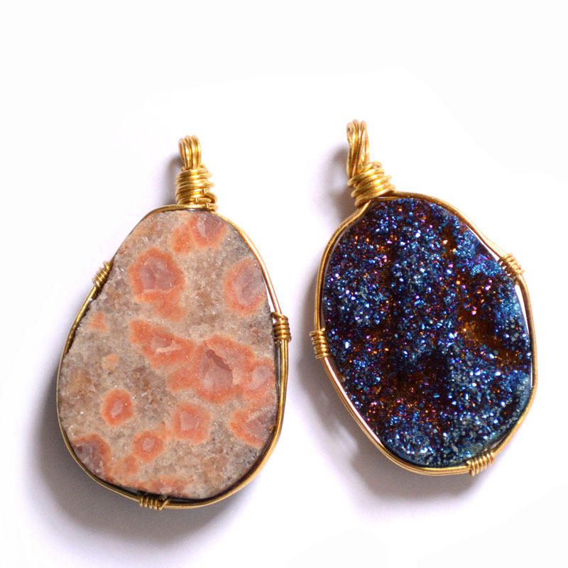 Custom Charm Natural Crystal Covered Gold Sweater Chain, Bohemian Blue Agate Crystal Bud Cluster Pendant Chain