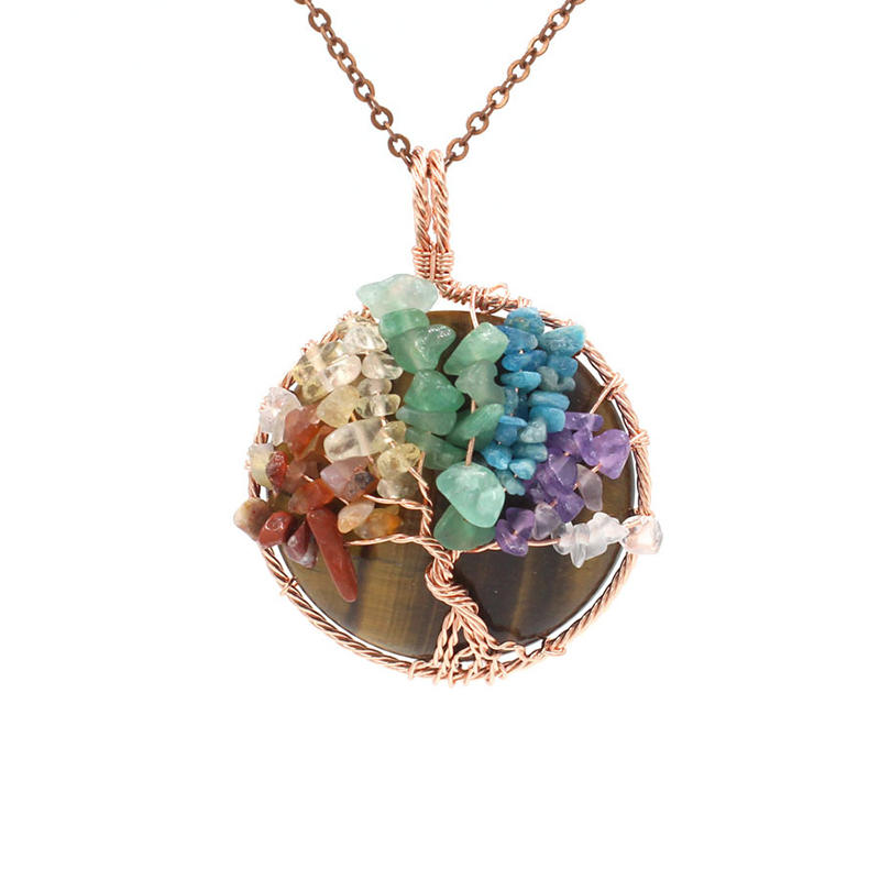 Crystal 7 Color Chakra Cluster Pendant, Tiger's Eye Tree Of Life Pendant