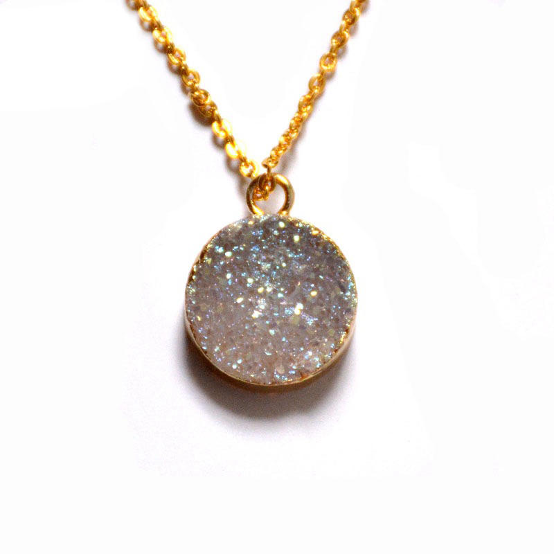 Bohemian Style Custom Charm Natural Agate Crystal Bud Cluster Pendant Chain Necklace