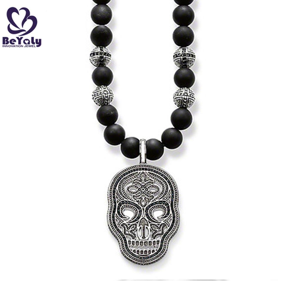 Wholesale custom beads chain brass skull pendant necklace