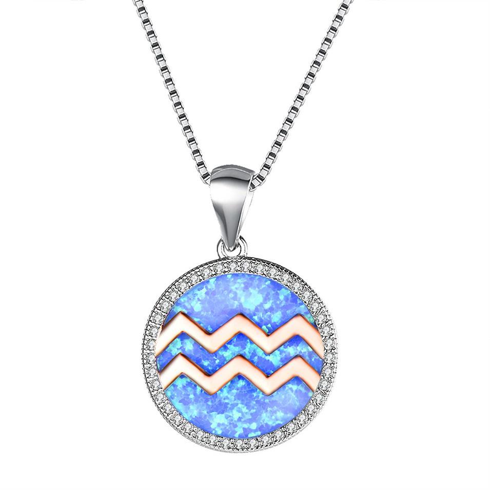 New Oxidized Opal Silver Aquarius Zodiac Pendant Necklace