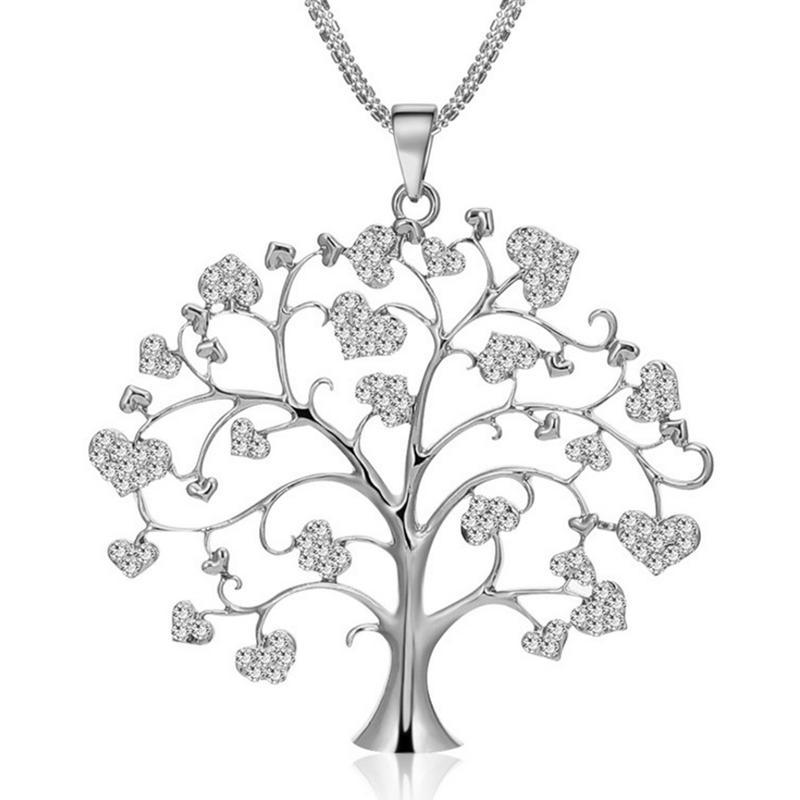 Ornate Brand-New Cz Pave Set Silver Tree Of Life Pendant