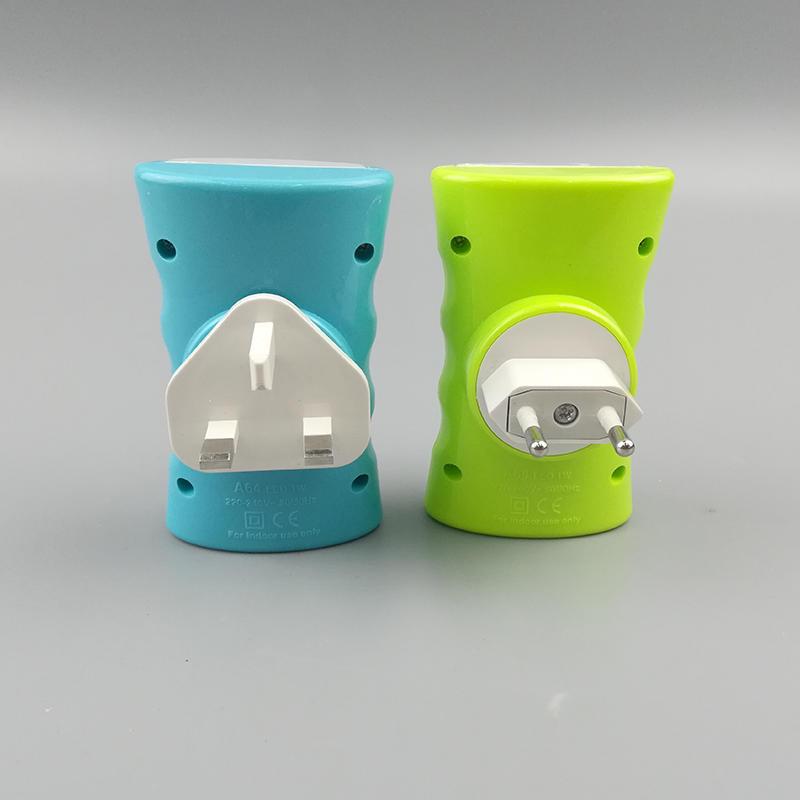 A64 LED mini sensor sand clock shape dusk to dawn EU BS SAA plug in night light for room