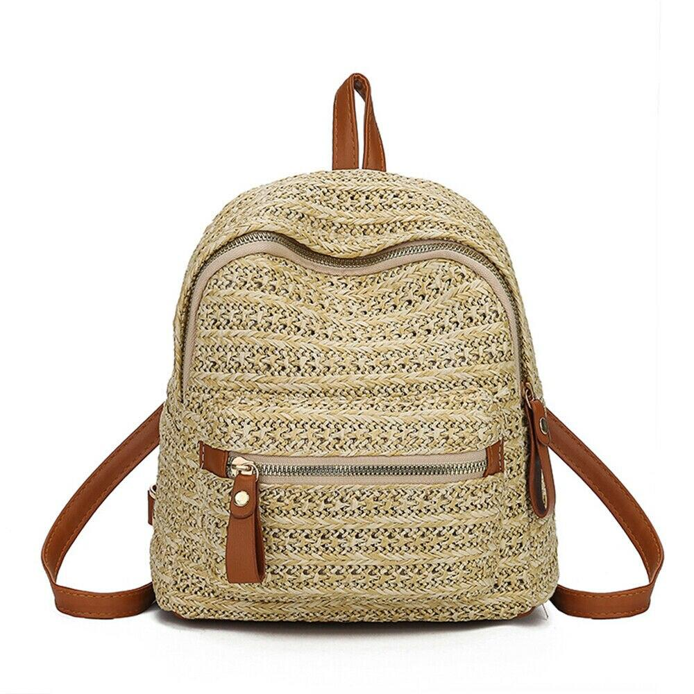 mochilas Bohemian Hot woman Straw Rattan Woven Backpacks Girls Summer Travel Beach leisure multi-pocket small School backpack women