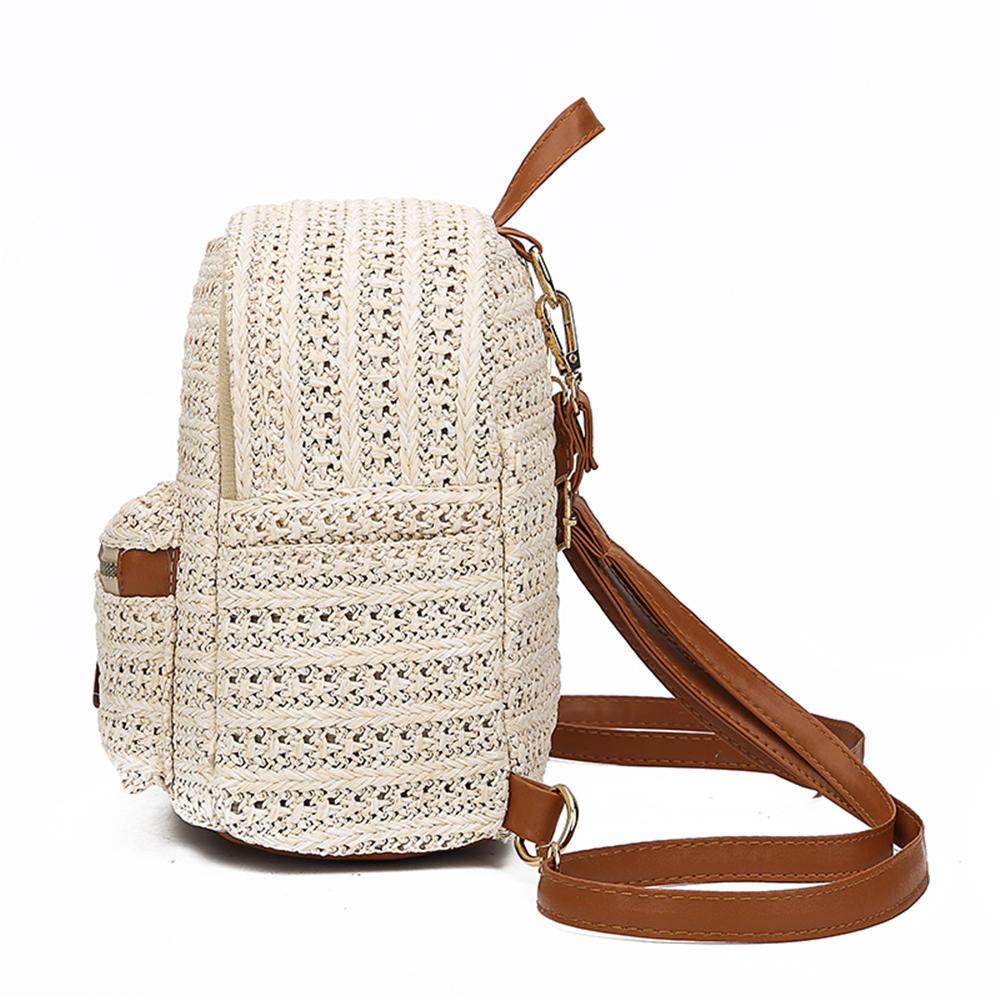 mochilas Bohemian Hot woman Straw Rattan Woven Backpacks Girls Summer Travel Beach leisure multi-pocket small School backpack women