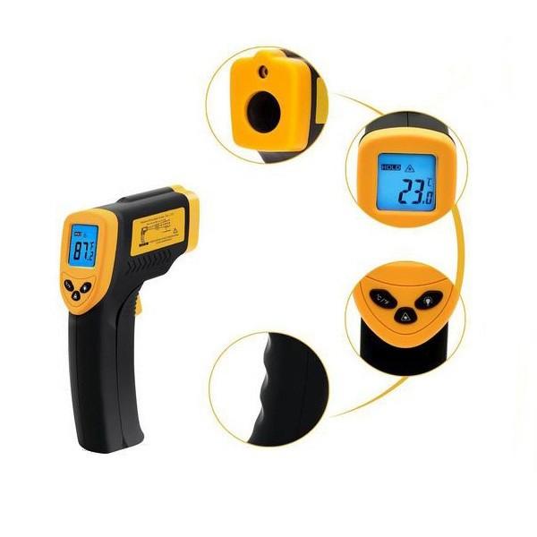 Smart Sensor Industrial Handheld LCD Screen Backlight Digital Temperature Testing Gun