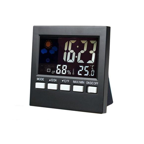 Color Digital Humidity Monitor Room Thermometer with Alarm Clock Thermometer Voice Control Backlit